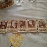 Sugar sachets with mini-biographies of Zionist leaders