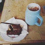 Hot chocolate and a creme egg brownie - yum!