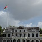 the tall flagpole by the Presidential Palace