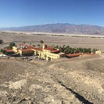 Inn At Furnace Creek. View from above, lobby, dining room, garden, pool.