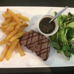 black Angus, fries and chimichurri sauce
