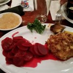 Crab cakes & beets