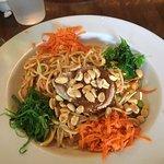 Tuna with peanuts, pasta, seaweed and carrots
