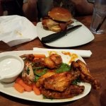 Habanero bacon chicken sandwich and habanero chicken wings.