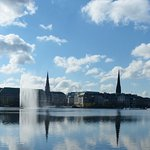 Alster Lake Town hall and church spires