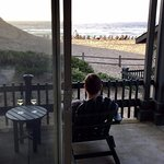 Patio and ocean view from our beachfront room