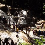 """The """"Congo"""" line of holding hands occurs through most of the ascent up the falls."""