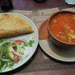 Quesadilla con nopal (left) Sopa Azteca (right)