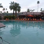 View of Tiki bar at end of pool