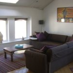 Studio area, with fridge, microwave and widescreen TV