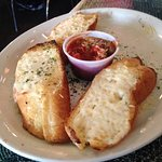 Garlic cheese bread with one slice missing. Hubby was hungry!