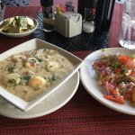 Shrimp & Grits and Crabcake. Yum!!