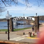 The view from our outdoor seating of the old Hudson pier