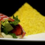 Lunch plate- tandoori kebab wrap, served with either rice, fries, soup or garden salad.