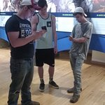 What teenage boys do in a museum.