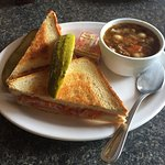 Grilled Ham & Cheese + Beef Veggie Soup