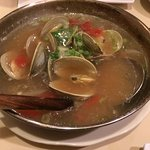 Little-neck clams in butter broth