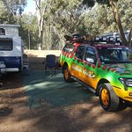 Plenty of space to stretch out. The Murray River is just behind the caravan.