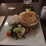 meat pie, veg, and mash