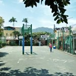 Basketball court and school