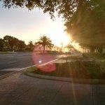 morning sunshine scenery outside hotel
