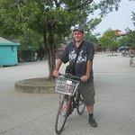 cycling through the village