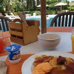 You can have breakfast next to the family pool