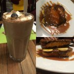 A chocolate milkshake, and the heavenly Elvis French Toast