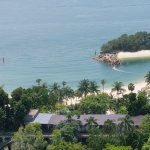 Viewing a beach on Sentosa Island from cable car