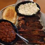 Baby Back ribs special (5 bones), cole slaw, BBQ beans, and garlic bread. $7.50 !