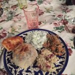Ouzi, cucumber salad, moutabbal, bread - awesome