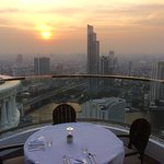 A beautiful sunset over the city with an even more spectacular meal