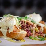 Our Breakfast: Egg Benedict with pulled pork!