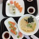 Arctic char nigiri, California roll, rainbow roll and udon!