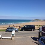 View from the Quiksilver Surf School office, right next to Fistral Beach