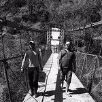 the jhoola (bridge) we cross on our way to the camp, with guide Jeevan here.