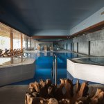 The inside swimming pool is large and clean, with 2 big jacuzzis and sauna, with a large view ov