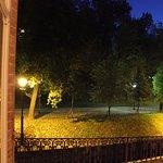 """Panorama dal Terrazzo della Camera """"La Mugnaia"""" sul parco del Castello di Govone."""