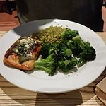 Ancho Salmon served with rice & steamed broccoli.
