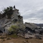 Climbing to the top of a boulder island
