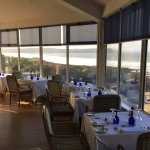Watersmeet Hotel restaurant with stunning sea views to Lundy Island.
