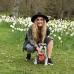 Daughter in the gardens with our mini schnauzer