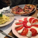Ham Pizza, Mash Potato and Caprese Salad