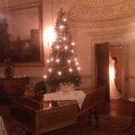 Christmas lights in the saloon, Robert Adam plasterwork behind.