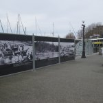 Displays along the harbour boardwalk.