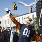 La mascotte des Tigers d'Auburn en pleine jetée de papier toilette