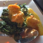 Limoncello shrimp with spinach and lobster ravioli