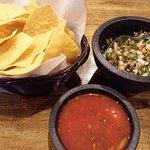 Chips and salsa (mushroom salsa in upper right)