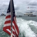 "Looking back toward both the Arizona memorial and the ""Mighty Mo"" from the transfer boat."