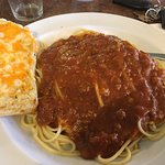 La spaghetti and meat sauce. Yum